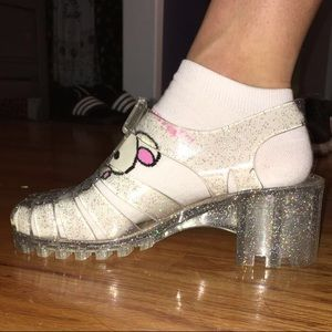 Clear sparkling jelly shoes NWOT